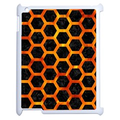 Hexagon2 Black Marble & Fire Apple Ipad 2 Case (white) by trendistuff