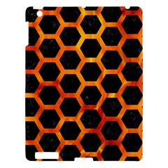 Hexagon2 Black Marble & Fire Apple Ipad 3/4 Hardshell Case by trendistuff