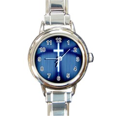 Blue Cross Christian Round Italian Charm Watch by Mariart