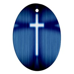 Blue Cross Christian Ornament (oval) by Mariart
