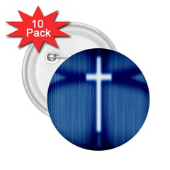 Blue Cross Christian 2 25  Buttons (10 Pack)  by Mariart