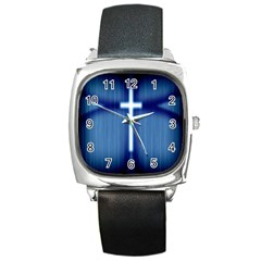 Blue Cross Christian Square Metal Watch by Mariart