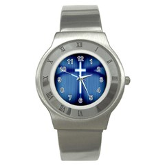 Blue Cross Christian Stainless Steel Watch by Mariart