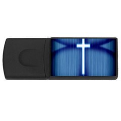 Blue Cross Christian Rectangular Usb Flash Drive by Mariart