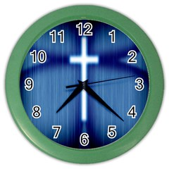 Blue Cross Christian Color Wall Clocks by Mariart