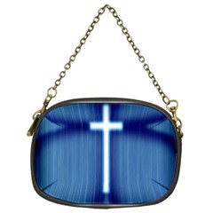 Blue Cross Christian Chain Purses (one Side)  by Mariart