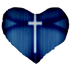 Blue Cross Christian Large 19  Premium Heart Shape Cushions by Mariart