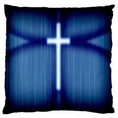 Blue Cross Christian Standard Flano Cushion Case (two Sides) by Mariart
