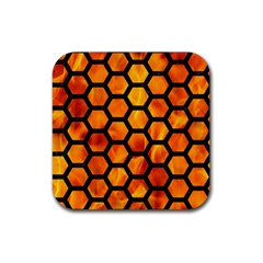 Hexagon2 Black Marble & Fire (r) Rubber Square Coaster (4 Pack)  by trendistuff