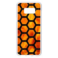 Hexagon2 Black Marble & Fire (r) Samsung Galaxy S8 Plus White Seamless Case by trendistuff