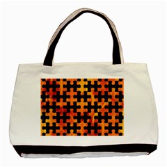 Puzzle1 Black Marble & Fire Basic Tote Bag (two Sides) by trendistuff