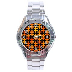 Puzzle1 Black Marble & Fire Stainless Steel Analogue Watch by trendistuff