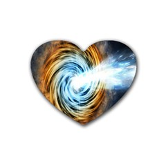 A Blazar Jet In The Middle Galaxy Appear Especially Bright Rubber Coaster (heart)  by Mariart