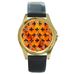 Royal1 Black Marble & Fire Round Gold Metal Watch by trendistuff