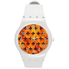 Royal1 Black Marble & Fire Round Plastic Sport Watch (m) by trendistuff