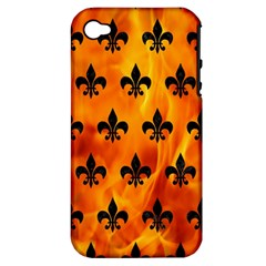 Royal1 Black Marble & Fire Apple Iphone 4/4s Hardshell Case (pc+silicone) by trendistuff