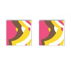 Breast Pink Brown Yellow White Rainbow Cufflinks (square) by Mariart