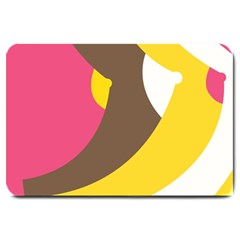 Breast Pink Brown Yellow White Rainbow Large Doormat  by Mariart