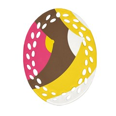 Breast Pink Brown Yellow White Rainbow Oval Filigree Ornament (two Sides) by Mariart