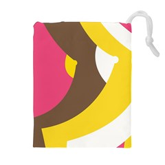 Breast Pink Brown Yellow White Rainbow Drawstring Pouches (extra Large) by Mariart