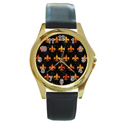 Royal1 Black Marble & Fire (r) Round Gold Metal Watch by trendistuff