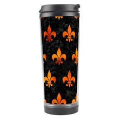 Royal1 Black Marble & Fire (r) Travel Tumbler by trendistuff