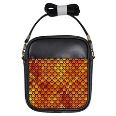 Scales2 Black Marble & Fire (r) Girls Sling Bags by trendistuff