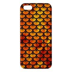 Scales3 Black Marble & Fire (r) Apple Iphone 5 Premium Hardshell Case by trendistuff