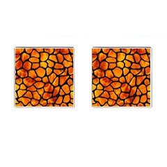 Skin1 Black Marble & Fire Cufflinks (square) by trendistuff