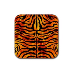 Skin2 Black Marble & Fire (r) Rubber Square Coaster (4 Pack)  by trendistuff