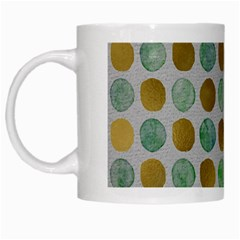 Green And Golden Dots Pattern                            White Mug by LalyLauraFLM