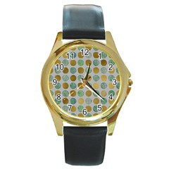 Green And Golden Dots Pattern                            Round Gold Metal Watch by LalyLauraFLM