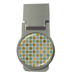 Green And Golden Dots Pattern                            Money Clip (round) by LalyLauraFLM