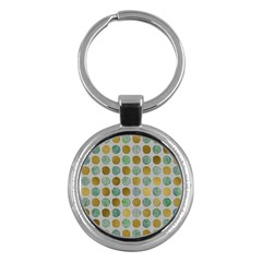 Green And Golden Dots Pattern                            Key Chain (round) by LalyLauraFLM