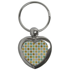 Green And Golden Dots Pattern                            Key Chain (heart) by LalyLauraFLM