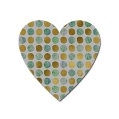 Green And Golden Dots Pattern                            Magnet (heart) by LalyLauraFLM