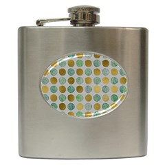 Green And Golden Dots Pattern                            Hip Flask (6 Oz) by LalyLauraFLM