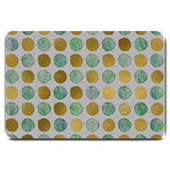 Green And Golden Dots Pattern                            Large Doormat by LalyLauraFLM