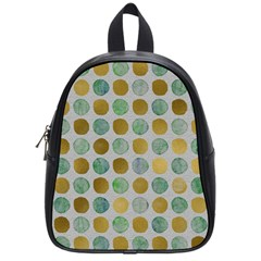 Green And Golden Dots Pattern                            School Bag (small) by LalyLauraFLM