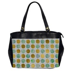Green And Golden Dots Pattern                            Oversize Office Handbag (2 Sides) by LalyLauraFLM