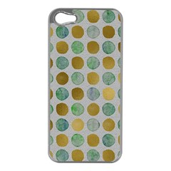 Green And Golden Dots Pattern                      Apple Iphone 5 Case (silver) by LalyLauraFLM