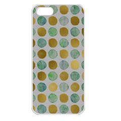Green And Golden Dots Pattern                      Apple Iphone 5 Seamless Case (white) by LalyLauraFLM