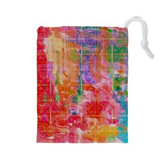Colorful Watercolors Pattern                            Drawstring Pouch by LalyLauraFLM