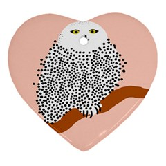 Animals Bird Owl Pink Polka Dots Ornament (heart) by Mariart