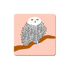 Animals Bird Owl Pink Polka Dots Square Magnet by Mariart