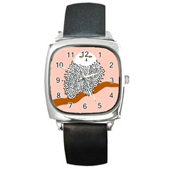 Animals Bird Owl Pink Polka Dots Square Metal Watch by Mariart