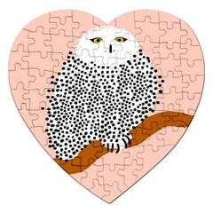Animals Bird Owl Pink Polka Dots Jigsaw Puzzle (heart) by Mariart