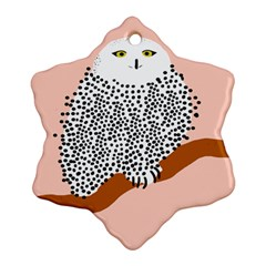 Animals Bird Owl Pink Polka Dots Snowflake Ornament (two Sides) by Mariart
