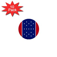 British American Flag Red Blue Star 1  Mini Buttons (10 Pack)  by Mariart