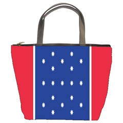 British American Flag Red Blue Star Bucket Bags by Mariart